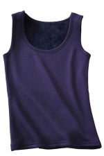 Womens Lined Warm U-neck Plain Sleeveless Tank Top Purple