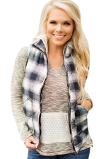 Womens Stand Collar Color Block Plaid Pocket Vest Black