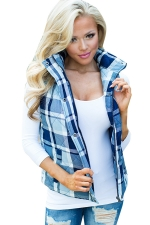 Womens Stand Collar Color Block Plaid Pocket Vest Blue