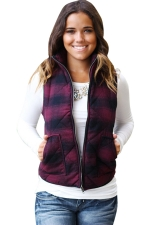 Womens Stand Collar Color Block Plaid Pocket Vest Ruby
