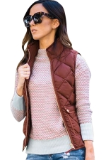 Womens Zip Up Stand Collar Quilted Plain Vest Brown