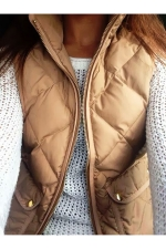 Womens Zip Up Stand Collar Quilted Plain Vest Khaki