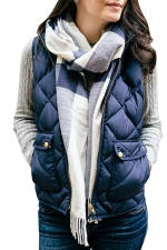 Womens Zip Up Stand Collar Quilted Plain Vest Navy Blue