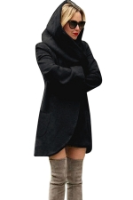 Womens Hooded Pocket Long Sleeve Cardigan Wool Coat Black
