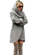 Womens Hooded Pocket Long Sleeve Cardigan Wool Coat Gray