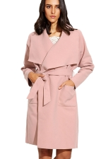 Womens Turndown Collar Long Sleeve Pockets Sash Plain Wool Coat Pink