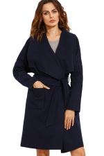 Womens Turndown Collar Long Sleeve Pockets Sash Wool Coat Navy Blue