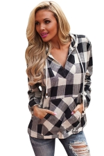 Womens Plaid Long Sleeve Pocket Drawstring Hoodie Black