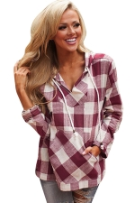 Womens Plaid Long Sleeve Pocket Drawstring Hoodie Red