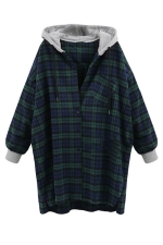 Womens Loose Plaid Printed Ling Sleeve Hoodie Green