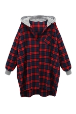 Womens Loose Plaid Printed Ling Sleeve Hoodie Red