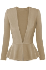 Womens V Neck Long Sleeve Peplum Hem Plain Blazer Apricot