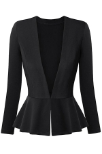 Womens V Neck Long Sleeve Peplum Hem Plain Blazer Black