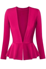 Womens V Neck Long Sleeve Peplum Hem Plain Blazer Rose Red