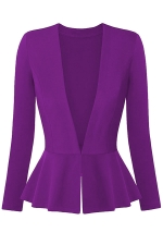 Womens V Neck Long Sleeve Peplum Hem Plain Blazer Purple