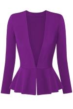 Womens V Neck Long Sleeve Peplum Hem Plain Blazer Purple