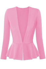 Womens V Neck Long Sleeve Peplum Hem Plain Blazer Pink