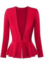 Womens V Neck Long Sleeve Peplum Hem Plain Blazer Red