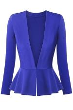 Womens V Neck Long Sleeve Peplum Hem Plain Blazer Sapphire Blue