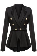 Womens Slimming Long Sleeve Buttons Peplum Blazer Black