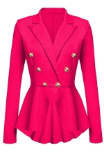 Womens Slimming Long Sleeve Buttons Peplum Blazer Rose Red