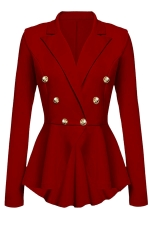 Womens Slimming Long Sleeve Buttons Peplum Blazer Red