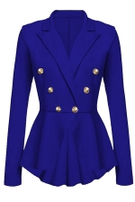Womens Slimming Long Sleeve Buttons Peplum Blazer Sapphire Blue