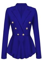 Womens Slimming Long Sleeve Buttons Peplum Blazer Sapphire Blue