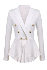 Womens Slimming Long Sleeve Buttons Peplum Blazer White