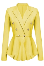 Womens Slimming Long Sleeve Buttons Peplum Blazer Yellow