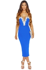 Womens Lace Trim Decor Spaghetti Straps Midi Dress Blue
