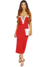 Womens Lace Trim Decor Spaghetti Straps Midi Dress Red
