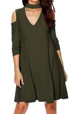 Womens Cold Shoulder V Neck Long Sleeve Plain Dress Army Green