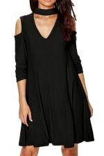 Womens Cold Shoulder V Neck Long Sleeve Plain Dress Black