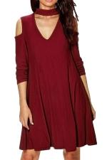 Womens Cold Shoulder V Neck Long Sleeve Plain Dress Ruby