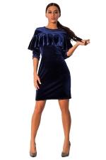 Womens Ruffled Long Sleeve Plain Dress Blue
