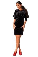 Womens Ruffled Long Sleeve Plain Dress Black
