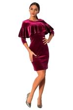 Womens Ruffled Long Sleeve Plain Dress Ruby