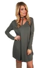 Womens V Neck Lace Up Halter Long Sleeve Plain Smock Dress Gray
