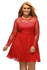 Womens Boohoo Plus Size Lace Long Sleeve Skater Dress Red