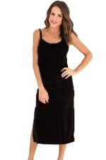 Womens Spaghetti Straps Backless Side Slit Midi Dress Black