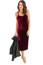 Womens Spaghetti Straps Backless Side Slit Midi Dress Ruby