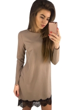 Womens Long Sleeve Lace Patchwork Hem Dress Khaki