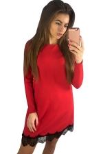 Womens Long Sleeve Lace Patchwork Hem Dress Red
