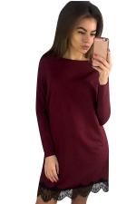 Womens Long Sleeve Lace Patchwork Hem Dress Ruby