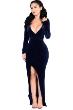 Womens Plunging Neck Long Sleeve Slit Front Evening Dress Navy Blue