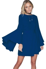 Womens Crew Neck Long Batwing Sleeve Plain Dress Blue