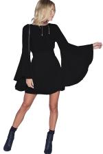 Womens Crew Neck Long Batwing Sleeve Plain Dress Black