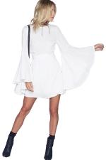 Womens Crew Neck Long Batwing Sleeve Plain Dress White