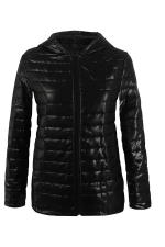 Womens Hooded Zip Up Long Sleeve Plain Down Jacket Black